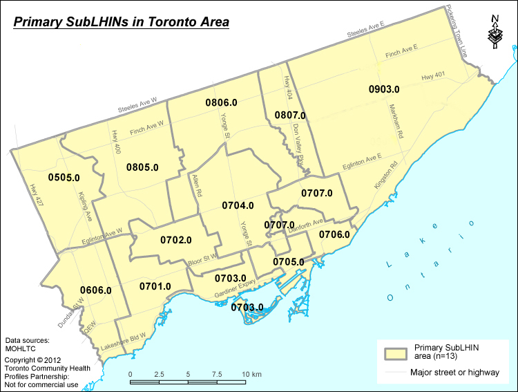 Toronto Primary Sub-LHIN Areas Map
