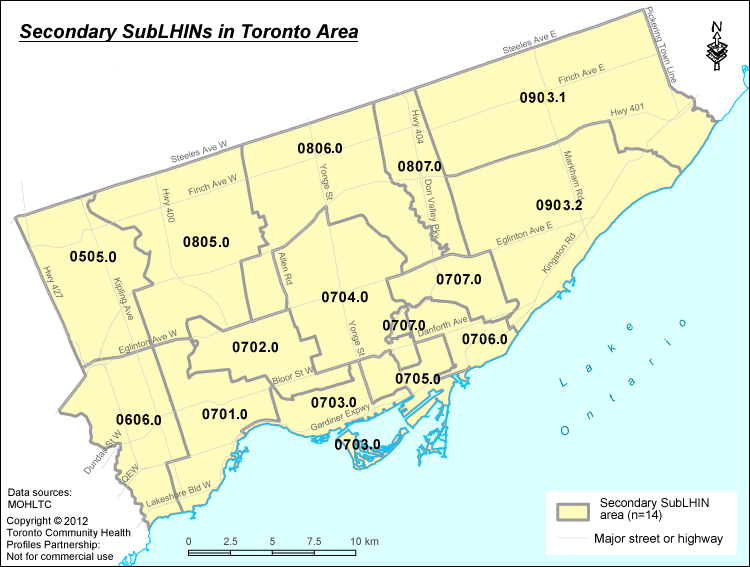 Toronto Secondary Sub-LHIN Areas Map